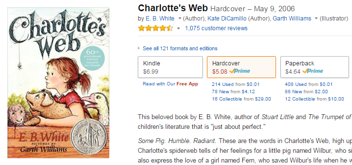 2015-11-12 07_54_54-Charlotte's Web_ E. B. White, Kate DiCamillo, Garth Williams_ 9780739477076_ Ama